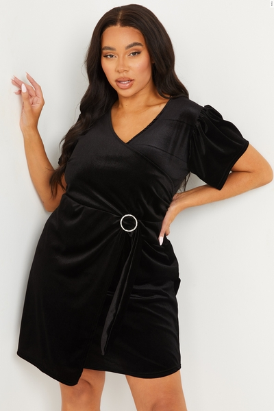 Curve Black Velvet Wrap Dress